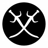 image of crossed swords  - Crossed swords button on white background - JPG