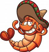 Cartoon Mexican shrimp relaxing. Vector clip art illustration with simple gradients. All in a single