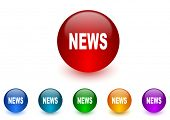 news internet icons colorful set