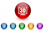3d display internet icons colorful set