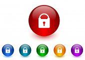 padlock internet icons colorful set