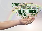 Concept or conceptual abstract green environment and ecology, conservation word cloud text in man ha
