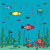 Child's drawing of underwater world (raster version)