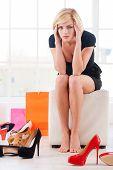 Woman In Shoe Store.