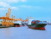 Comercial Ship With Container On Shipping Port For Import Export And Logistic Transportation