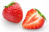 Cut Strawberries With Isolated Background