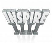 Inspire word in 3d letters on stone or marble columns to illustrate motivation or encouragement to achieve a goal or success