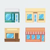 Flat Design Of Front Shop Set