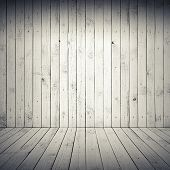 Abstract White Interior With Wooden Floor And Wall