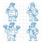 Biker man doodle concept set 1