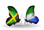 Two Butterflies With Flags On Wings As Symbol Of Relations Jamaica And Sierra Leone