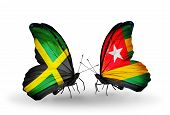 Two Butterflies With Flags On Wings As Symbol Of Relations Jamaica And Togo