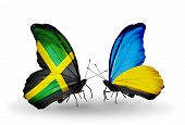 Two Butterflies With Flags On Wings As Symbol Of Relations Jamaica And Ukraine