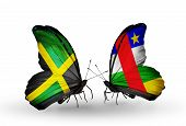 Two Butterflies With Flags On Wings As Symbol Of Relations Jamaica And Car