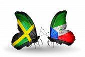 Two Butterflies With Flags On Wings As Symbol Of Relations Jamaica And Equatorial Guinea
