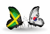 Two Butterflies With Flags On Wings As Symbol Of Relations Jamaica And South Korea