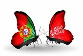 Two Butterflies With Flags On Wings As Symbol Of Relations Portugal And Waziristan