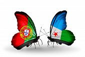 Two Butterflies With Flags On Wings As Symbol Of Relations Portugal And Djibouti