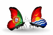 Two Butterflies With Flags On Wings As Symbol Of Relations Portugal And Kiribati