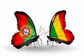Two Butterflies With Flags On Wings As Symbol Of Relations Portugal And Mali