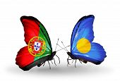 Two Butterflies With Flags On Wings As Symbol Of Relations Portugal And Palau