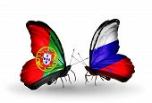 Two Butterflies With Flags On Wings As Symbol Of Relations Portugal And Russia