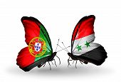 Two Butterflies With Flags On Wings As Symbol Of Relations Portugal And Syria