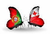 Two Butterflies With Flags On Wings As Symbol Of Relations Portugal And Tonga
