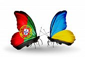 Two Butterflies With Flags On Wings As Symbol Of Relations Portugal And Ukraine