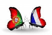 Two Butterflies With Flags On Wings As Symbol Of Relations Portugal And France