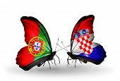 Two Butterflies With Flags On Wings As Symbol Of Relations Portugal And Croatia