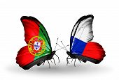 Two Butterflies With Flags On Wings As Symbol Of Relations Portugal And Czech