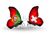 Two Butterflies With Flags On Wings As Symbol Of Relations Portugal And Switzerland