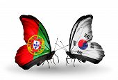 Two Butterflies With Flags On Wings As Symbol Of Relations Portugal And South Korea