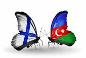 Two Butterflies With Flags On Wings As Symbol Of Relations Finland And Azerbaijan