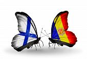 Two Butterflies With Flags On Wings As Symbol Of Relations Finland And Andorra