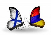 Two Butterflies With Flags On Wings As Symbol Of Relations Finland And Armenia