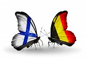 Two Butterflies With Flags On Wings As Symbol Of Relations Finland And  Belgium