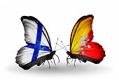 Two Butterflies With Flags On Wings As Symbol Of Relations Finland And  Bhutan