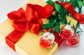 Gift, Red Bow And Roses