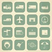 Shipping and Logistics Retro Icons. Vector illustration