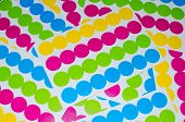 Foil of round multicolored stickers
