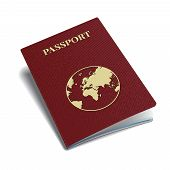 stock photo of passport cover  - Vector international passport template with globe stamp - JPG