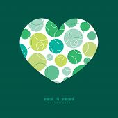 Vector abstract green circles heart silhouette pattern frame