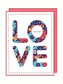 Vector colorful bouquet flowers love text frame pattern invitation greeting card template