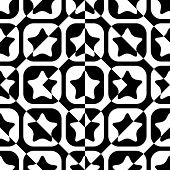 Seamless Square and Star Pattern. Abstract Black and White Background. Vector Regular Texture
