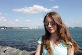 Girl On Bosphorus Background