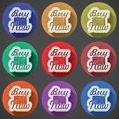 Shoping Bag Icon Set With Text Buy Now On Color Fade Shadow Effect