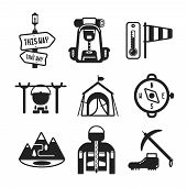 Set Of Vector Monochrome Hiking Icons In Flat Style