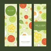 Vector fresh salad vertical banners set pattern background